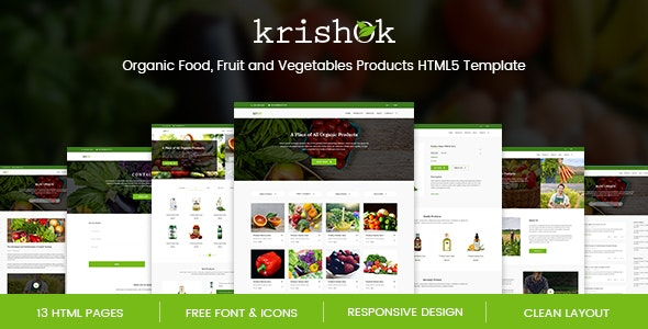 Krishok v1.0 - Organic Food, Fruit and Vegetables Products HTML5 Template preview image