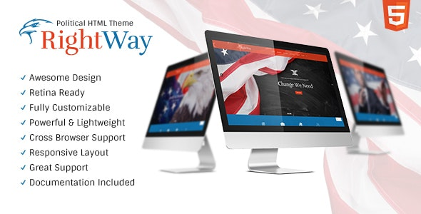 Right Way v1.0 - Politics & Activism Site Template preview image