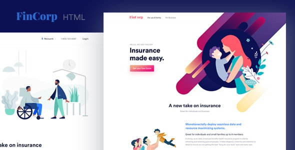 FinCorp v1.0 - Finance, Insurance & Marketing Landing Page Template preview image