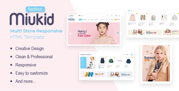 MiuKid v1.0.0 - Multi Store Responsive HTML Template preview image